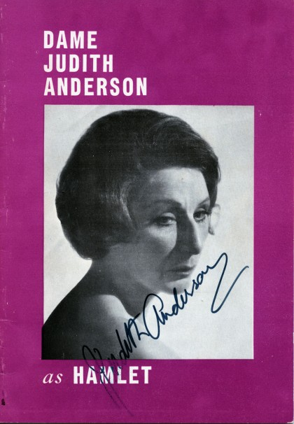 Figure 1., Hamlet program, signed by Judith Anderson, in Author's collection.